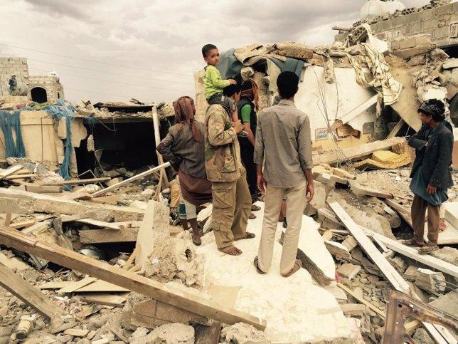 Bombardeo en Bab al Shab, en Saná, que dejó 17 muertos el 1 de mayo