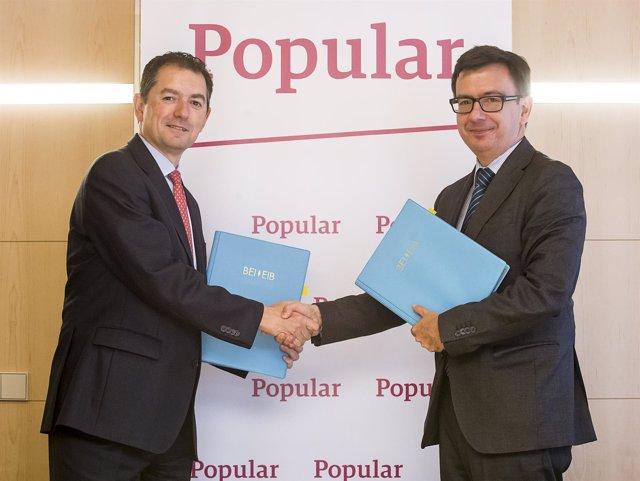 Firma del acuerdo entre Popular y el BEI