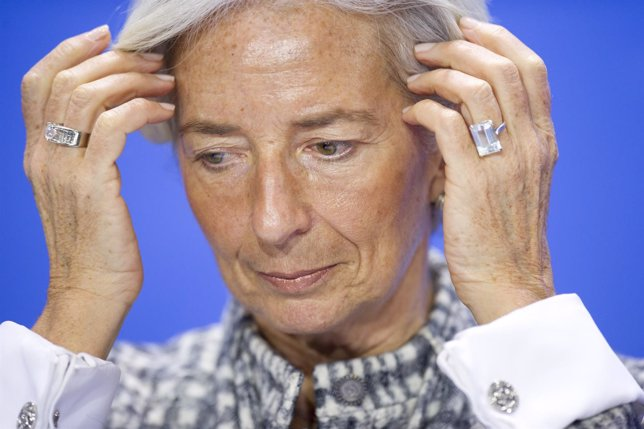 Managing Director of the International Monetary Fund Lagarde attends news confer