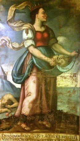Óleo sobre lienzo que representa la venganza de Orisgonta