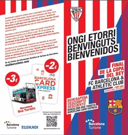 Díptico sobre información turística de Barcelona para la Copa del Rey