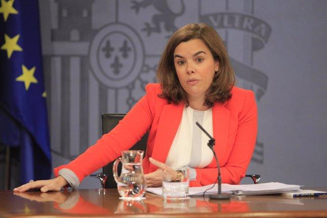 Soraya Santamaría tras el Consejo de Ministros