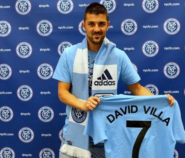 David Villa con la camiseta del New York City