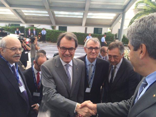 El presidente Generalitat, A. Mas  el Presidente Círculo de Economía A.Costas