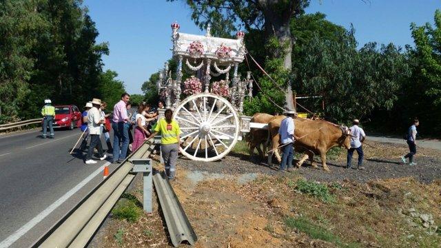 Regreso de carretas de la romería del Rocío