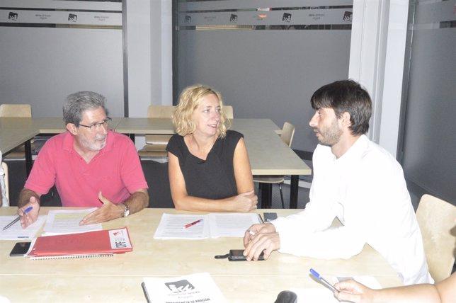 Adolfo Barrena, Patricia Luquin y Álvaro Sanz en la Presidencia de IU-Aragón.
