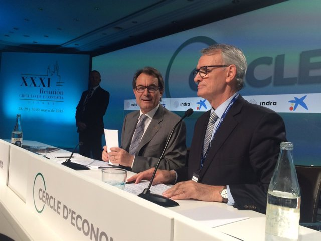 El presidente de la Generalitat, A.Mas y el del Círculo de Economía, A.Costas