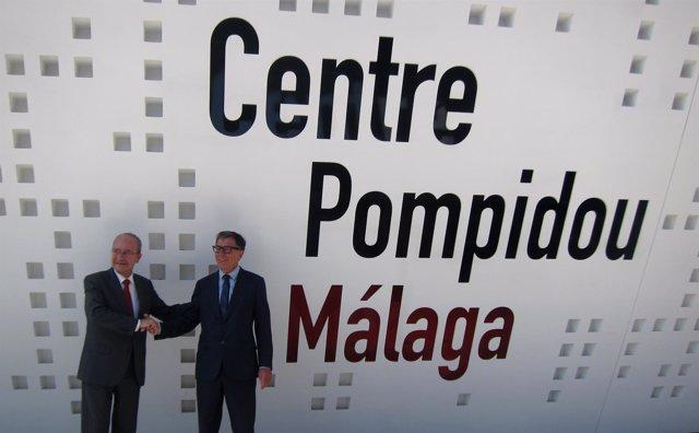 Serge Lasvignes, presidente Pompidou París, y De la Torre, alcalde de Málaga
