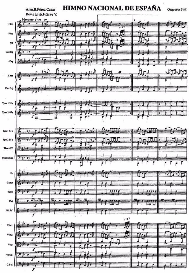 Himno de España, partitura