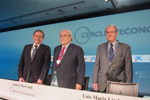 Vítor Constâncio, Andreu Mas-Colell y Luis María Linde