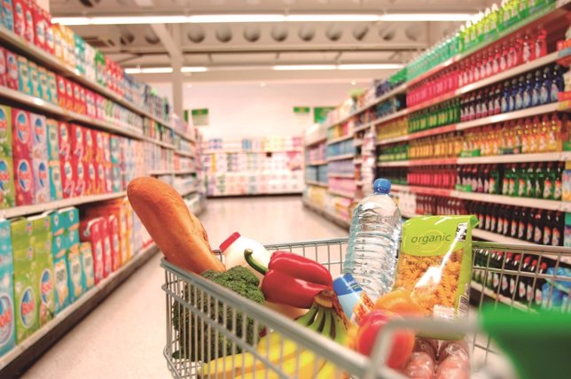 Compra, supermercado, carrito, saludable