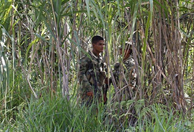 Guardia colombiana donde cinco soldados fueron asesinados por las FARC
