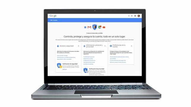 Página Mi Cuenta de privacidad y seguridad de Google