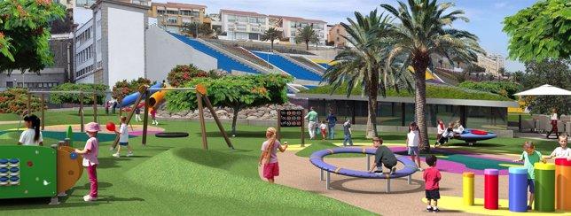 Zona de juegos en el Parque Deportivo Estadio Insular