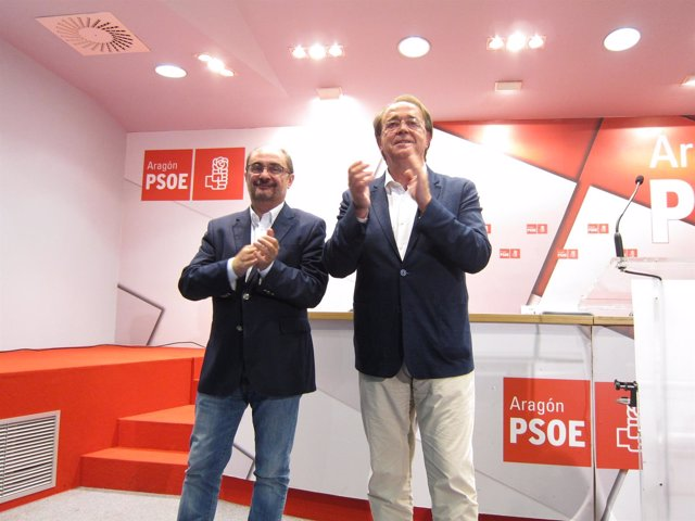 Lambán y Pérez Anadón esta noche en la sede del PSOE