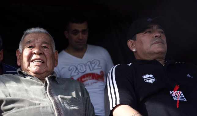 Former Argentina captain and coach Maradona watches the Primera D championship s