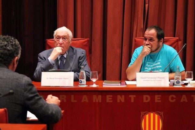 El exconseller Macià Alavedra y el diputado David Fernández (CUP)