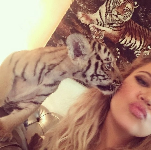Khloe Kardashian se hace un selfie con un tigre