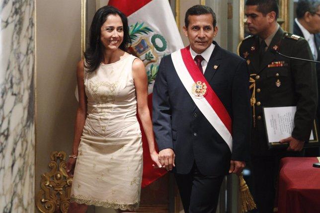El presidente de Perú, Ollanta Humala, y su mujer, Nadine Heredia.