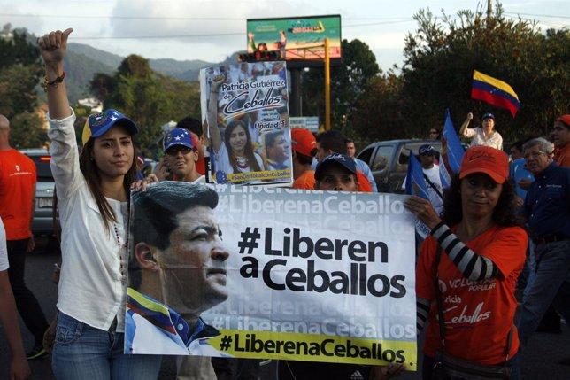 Ceballos, opposition candidate and wife of jailed former mayor Daniel Ceballos,