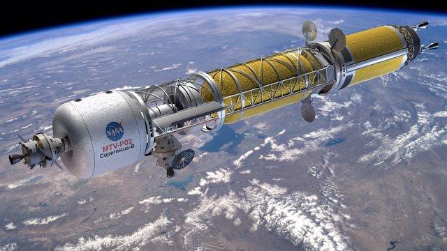 Vehículo de Transferencia Copernicus con una Orion atracada a la izquierda