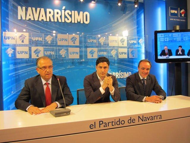 Enrique Maya, Óscar Arizcuren y Javier Esparza, de UPN