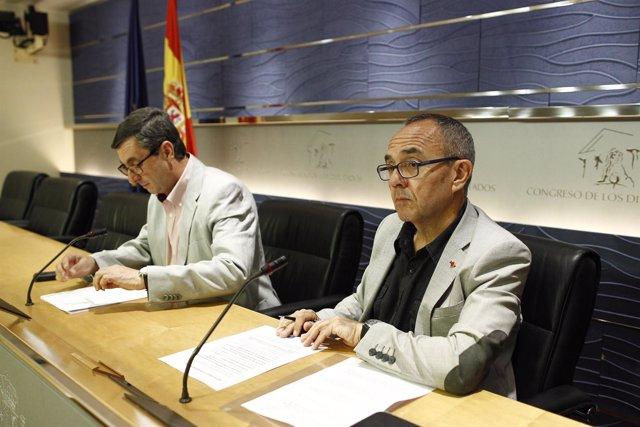José Luis Centella y Joan Coscubiela en el Congreso