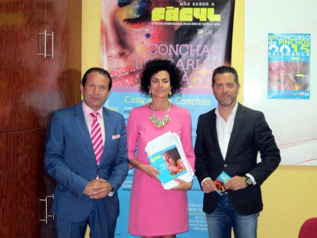 Alain Saldaña, Cristina Mateos y Julio López (D)