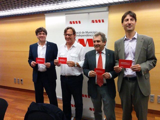 C.Puigdemont, J.M.Vila d'Abadal, J.Andreu y J.Solé