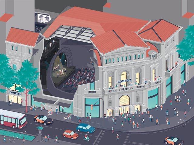 Ilustración del nuevo proyecto de los cines Comèdia, por Mercè Iglesias