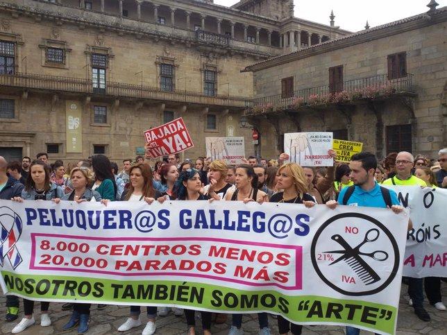 Protesta de peluqueros contra el IVA