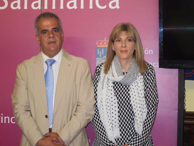 Los diputados provinciales José María Sánchez y Eva Picado en la presentación de