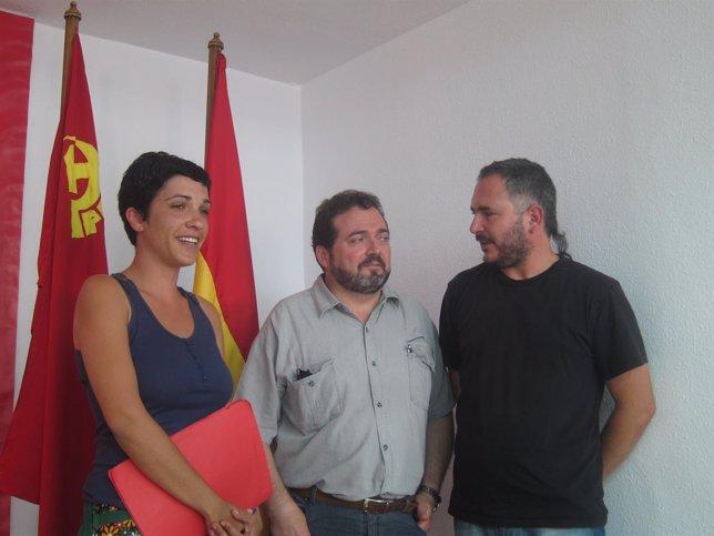 Antonia Morillas, responsable Institucional PCA, junto a Villanueva y Campos