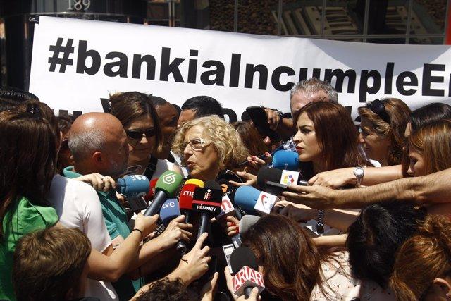 Manuel Carmena tras reunirse con el presidente de Bankia