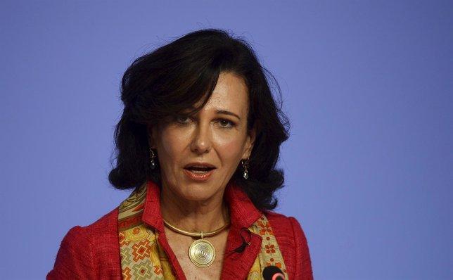 Ana Botin, chairwoman of Spain's largest bank Banco Santander, addresses the ann