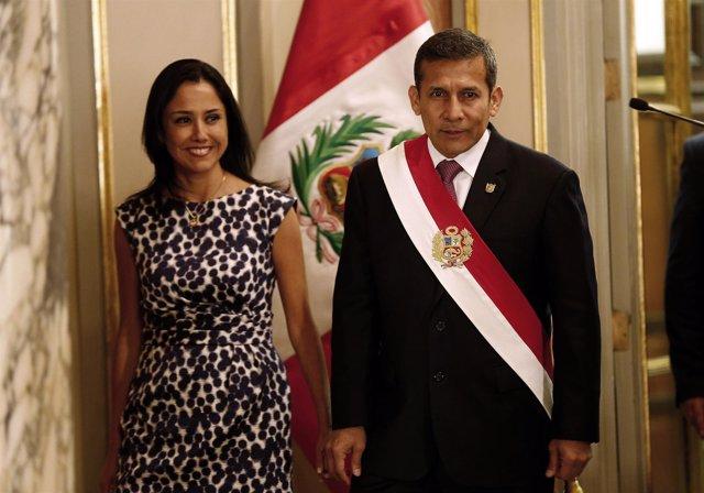 El presidente de Perú, Ollanta Humala, y su mujer, Nadine Heredia