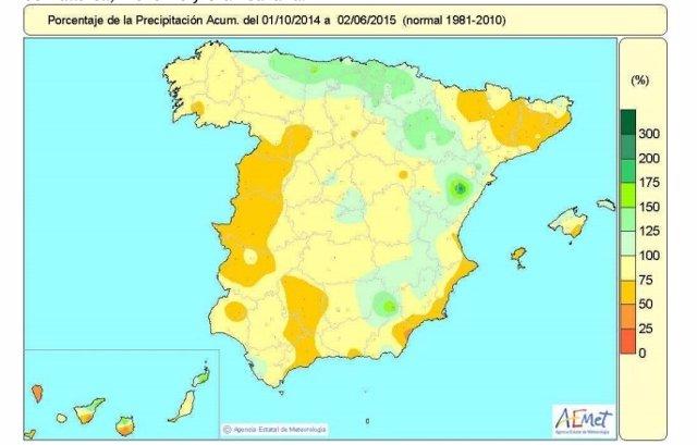 Distribución de las precipitaciones en el año hidrológico 2014-15