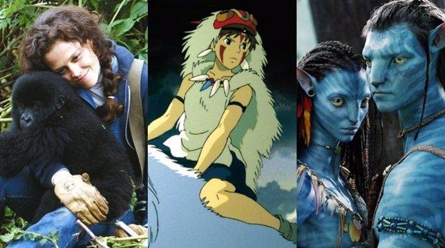 Imágenes de 'Gorilas en la niebla', 'La princesa Mononoke' y 'Avatar'