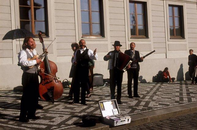 Músicos callejeros.