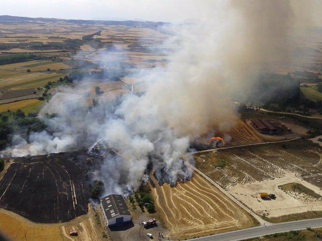 Incendio registrado en Lerín.