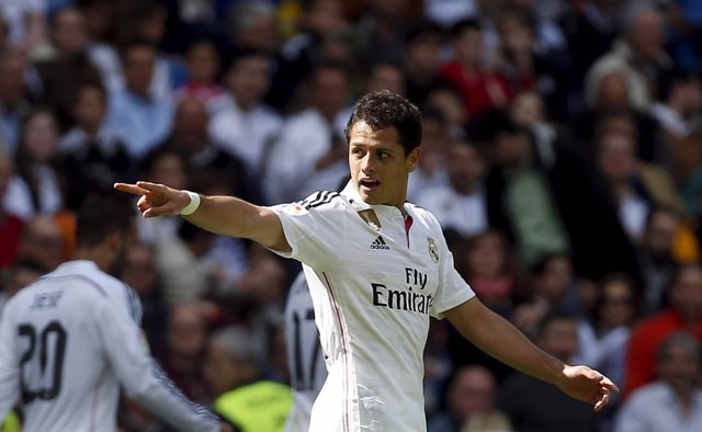 Real Madrid's Chicharito celebrates after scoring a goal against Eibar during th