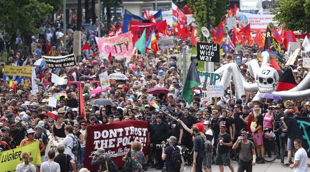 Manifestación contra el G-7 en Garmisch-Partenkirchen, Alemania