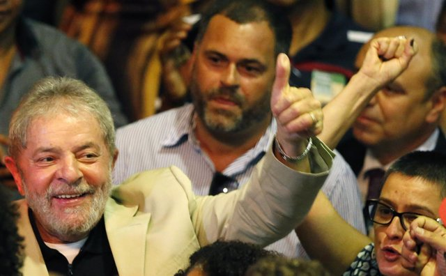 Brazil's former president Inacio Lula da Silva gestures during the event