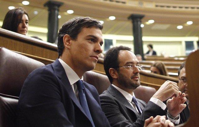 Pedro Sánchez y Antonio Hernando, en el hemiciclo