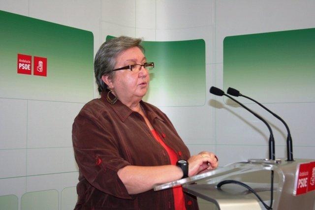 Maribel Flores en la sede del PSOE