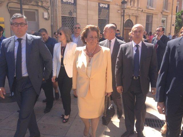 La alcaldesa en funciones, Rita Barberá, este domingo en Valencia