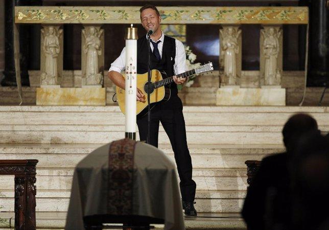 Chris Martin, de Coldplay, en el funeral de Beau Biden en Delaware