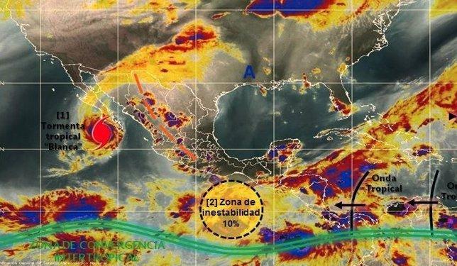 La tormenta tropical Blanca llega a Baja California