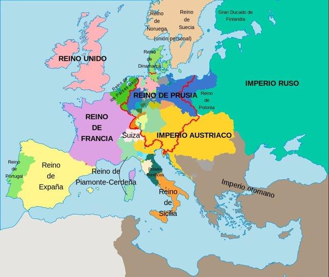 Mapa de europa tras el Congreso de Viena