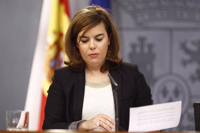 Soraya Sáenz de Santamaría tras el Consejo de Ministros.
